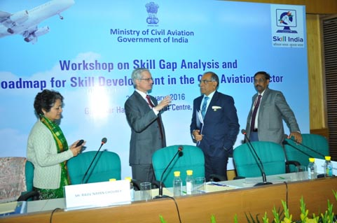 Shri Rajiv Nayan Choubey, Secretary, Ministry of Civil Aviation (MoCA) and Shri T Suvarna Raju, Chairman AASSC discussing during the Workshop on Skill Gap Analysis organised by MoCA at New Delhi on 25 Jan 16. Dr Renu Singh Parmar, Senior Advisor, MoCA is also in the picture.